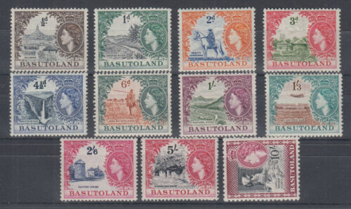 Basutoland Sc 4656 MLH. 1954 QEII bicolor definitives, complete & almost VF