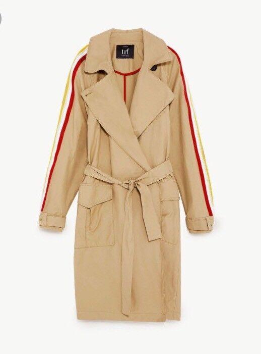 Zara Stripe Trim Sleeve Trench Coat Mac-Size Mac-Size Mac-Size S-M c50c99