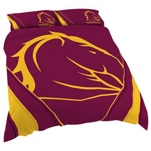 Brisbane Broncos DOUBLE NRL Quilt Doona Duvet Cover SetRugby League Horse