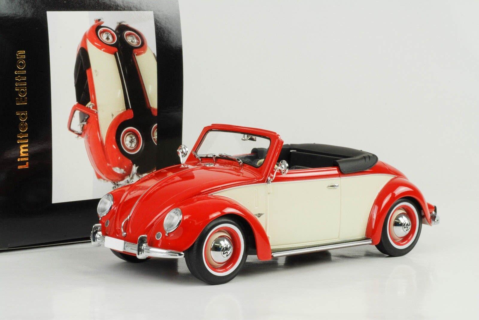 Volkswagen VW 1200 Hebmüller 1949 Cabriolet with Roof Red Cream 1 18 Kk Diecast