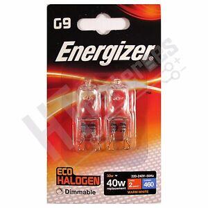 10 x Energizer G9 Eco 40W Halogen Capsule Bulb 460 Lumens 220V Lamp Warm White