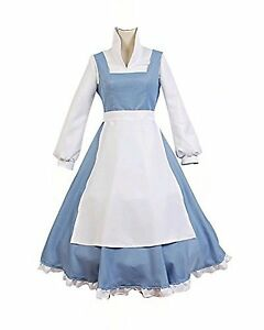 fad556ced7 New Adult Beauty and the Beast Belle Blue Maid Dress Cosplay Costume ...