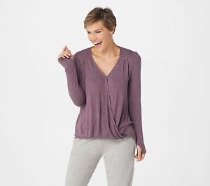 AnyBody Women's Hacci V-Neck Long Sleeve Pullover Top (Faded Plum, L) A367687