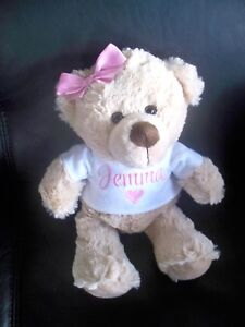 Personalised-Teddy-Bear-Gift-Any-Name-26cm-Baby-Twins-Valentine-Birthday-Love