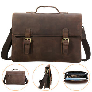 hommes-cuir-Messenger-Bag-mallette-14-034-Laptop-Case-cartable-Sac-a-bandouliere