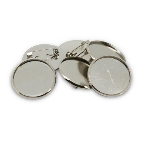 28mm Tono Plata Redondo Circular broche insignia con ajuste espacios en blanco se adapta a 25mm Cabujón