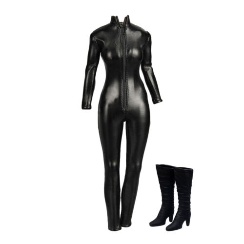 1//6 Black Jacket PU Leather Jumpsuit High Heel for 12inch Action Figure Toys
