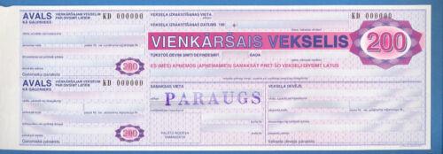 LATVIA LETTLAND BILL OF EXCHANGE 200 LATI SPECIMEN #KD 000000 WITH WMK RARE 2755
