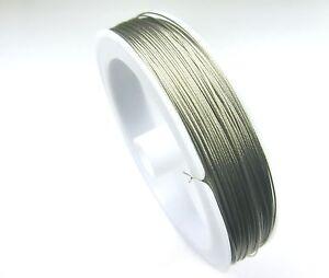 100m-SCHMUCKDRAHT-Edelstahlseide-1-ROLLE-0-38mm-Farbe-silber-Perlendraht