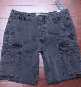Abercrombie-amp-Fitch-Men-039-s-Charcoal-10-034-Inseam-Cotton-Classic-Cargo-Shorts-30