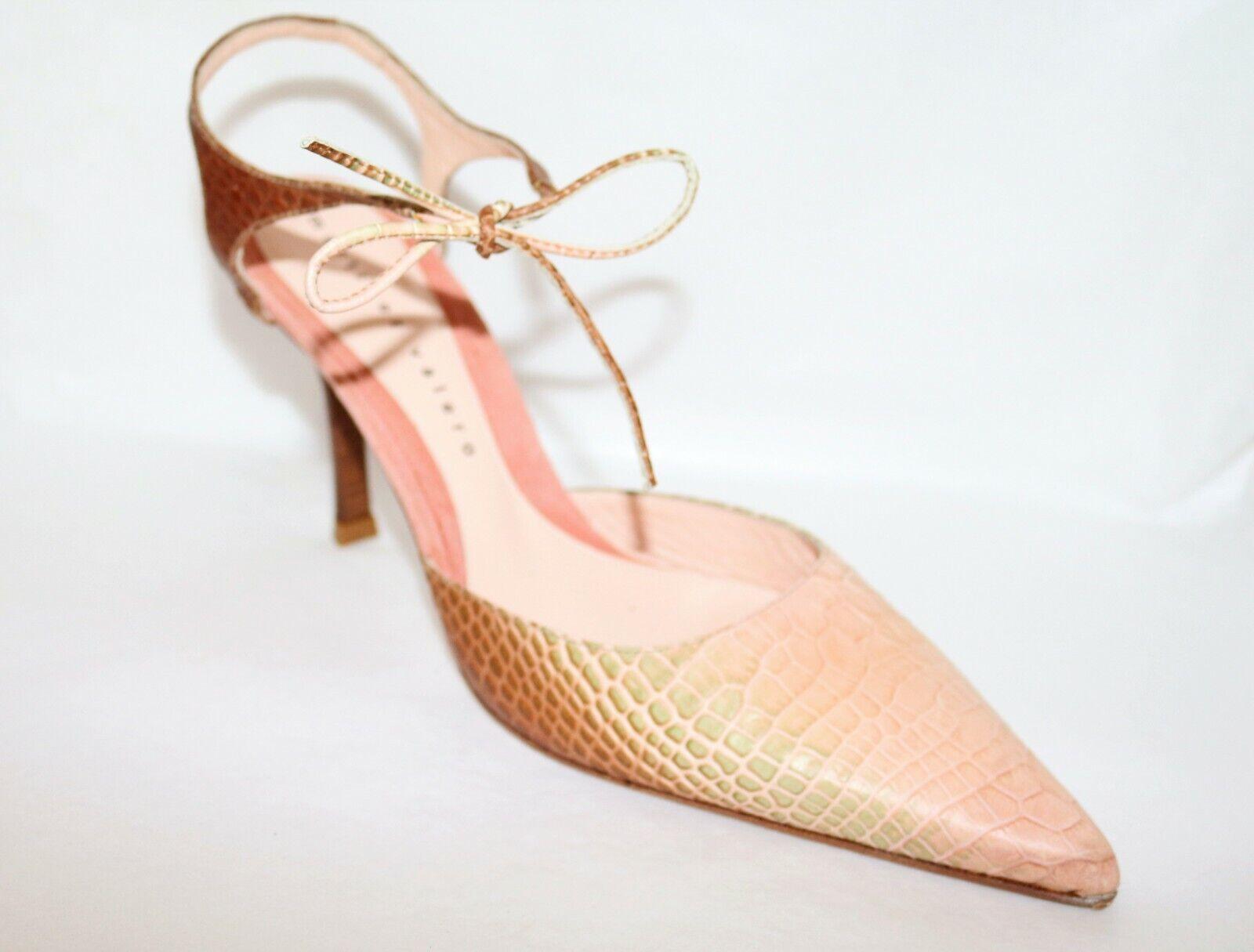 Martinez Valero Brand Creams Reptile Print Leather Pointed Heels Dimensione 39.5 NEW
