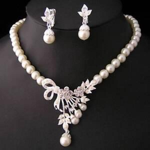 Pearls Crystal Necklace Earrings Wedding Jewelry Set Handmade