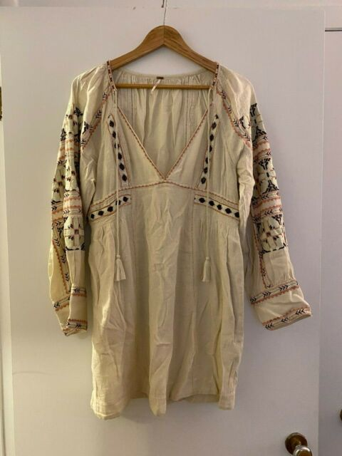 Free People Embroidered Long SleeveTunic Dress Size Medium
