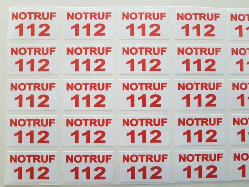 Notruf 112 Aufkleber für QM-Systeme rot auf weiß oder weiß auf rot