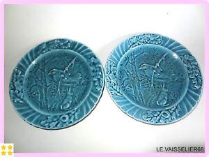 2 Anciennes Assiettes En Faience Majolique Barbotine Art Nouveau
