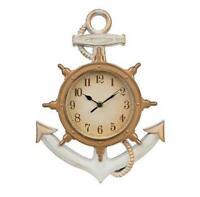 Distressed White/ Gold Accents.anchor Clock. Anchor Shelf Beach Nautical Decor