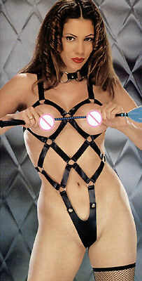 8015J Sexy Black Teddy & Choker Set Body Cage Bondage Faux Leather Body Harness