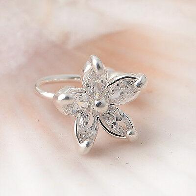 Fashion Crystal Flower Gold Silver Ear Cuff Stud Earring Wrap Clip On Jewelry