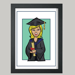 1 Person Graduation Digital Caricature From Photo - Personalised - Digital File