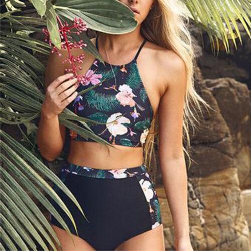 Women Bikini Set Swimsuit High Waist Floral Bathing Suit Swimwear Beachwear Swim