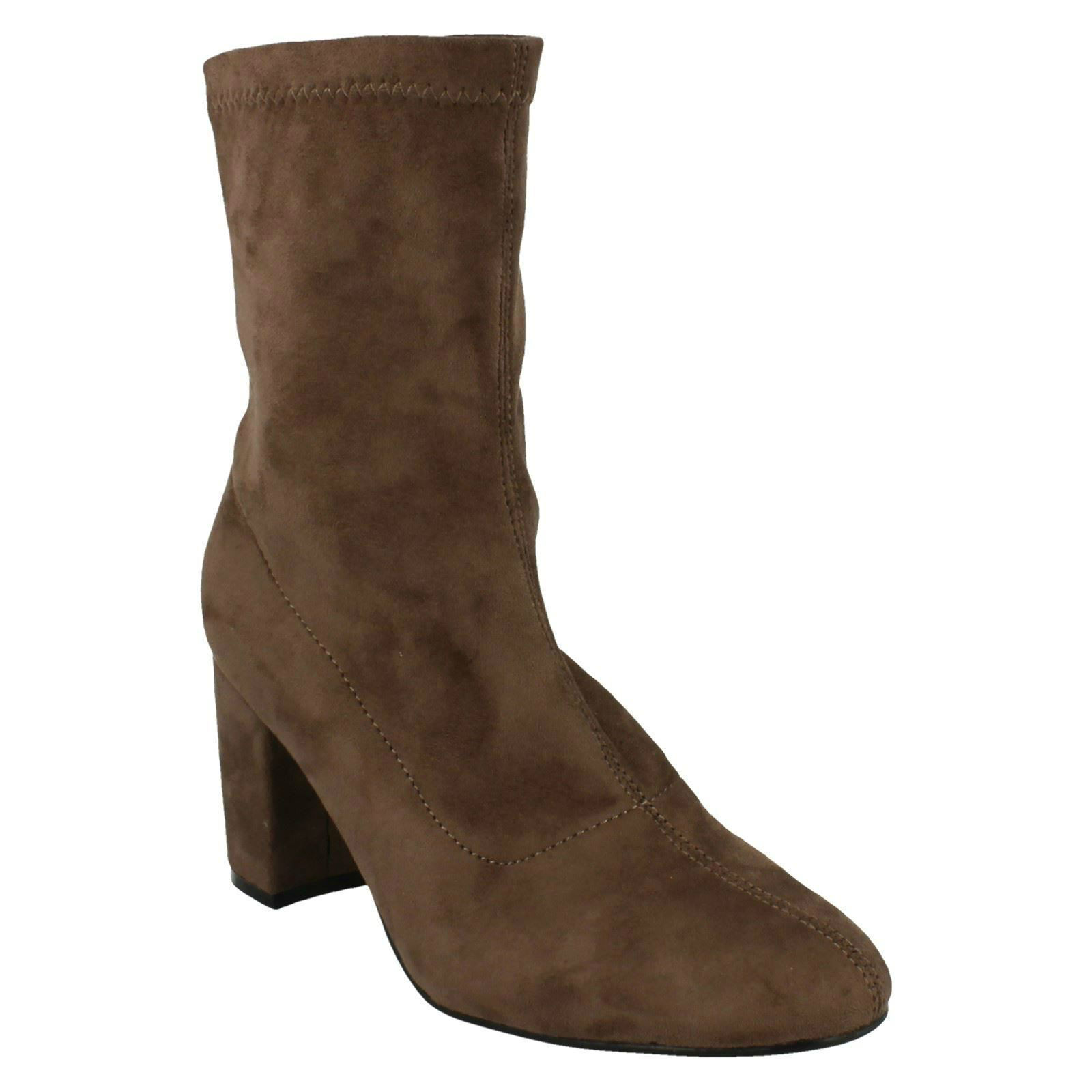 LADIES WOMENS ANNE MICHELLE PULL ON CASUAL HEELED ANKLE HIGH BOOTS F50681 SIZE