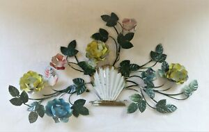 Vintage-Italian-Tole-Floral-Wall-Decor-Metalwork-Floral-Wall-Art-Home-Decor