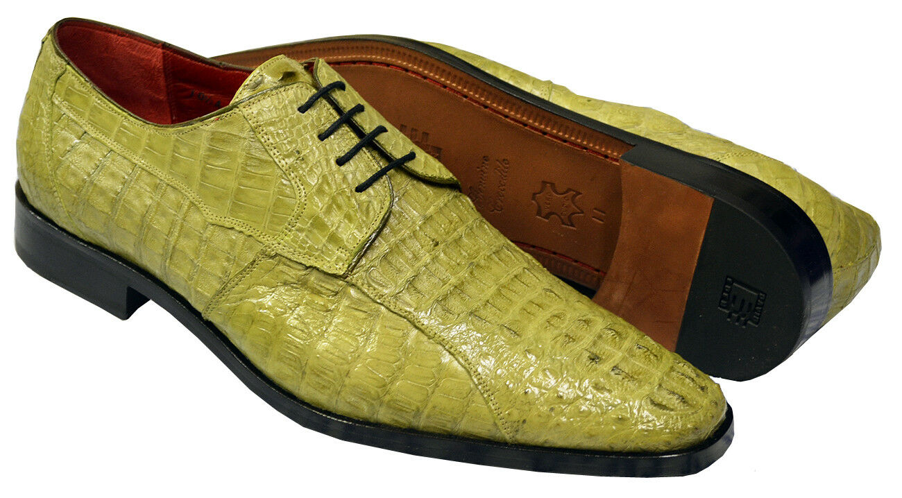 David Eden Apple Green Premium Hornback Crocodile Skin Dress shoes Size 10