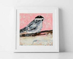 5x5 Print - Cute Pink Chickadee Bird Art Animal Print Katie Jeanne Wood