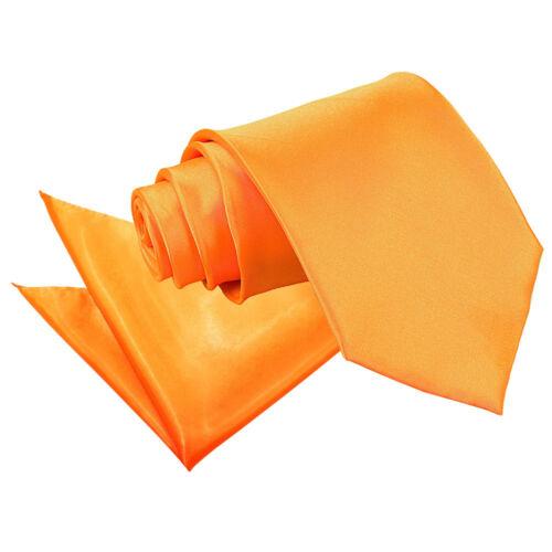 DQT Satin Plain Solid Fluorescent Orange Mens Classic Tie /& Hanky Wedding Set