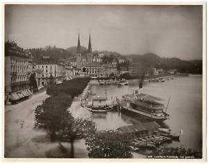 Suisse-Lucerne-Luzern-la-promenade-vue-generale-Vintage-albumen-print-T