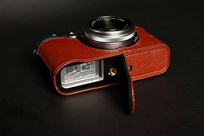 Genuine real Leather Half Camera Case bag Cover for FUJIFILM X100T Open Brown