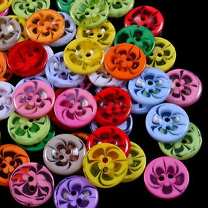 200pcs Mixed Color Round 2 Holes Flower Resin Buttons Cardmaking Sewing Craft