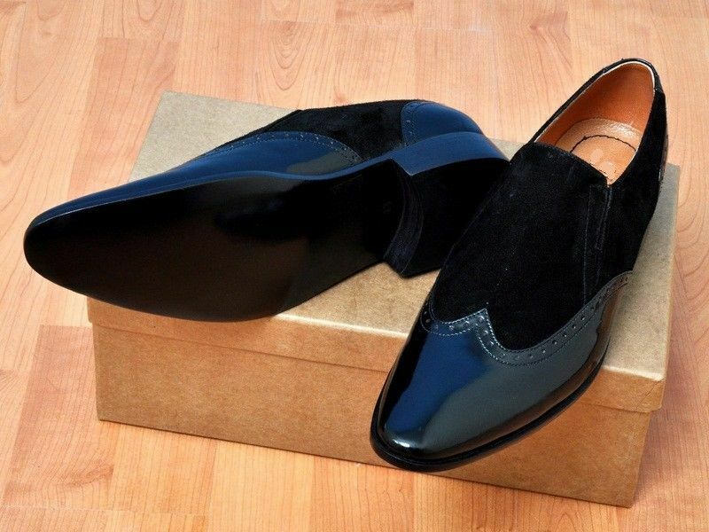 Mens Handmade shoes Patent Leather Black Suede Moccasins Formal Dress Wear Boots