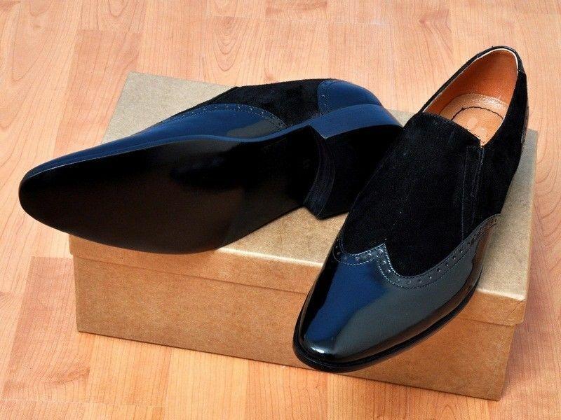 Homme Fait à la main Chaussures cuir verni en daim noir mocassins formelle   de porter des bottes