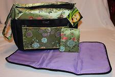 NEW – 3 Piece Baby Diaper Bag - Chartreuse Green Brocade - Bag & Pad & Clutch