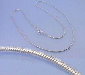 Echt-925-Silber-Schlangenkette-1-2-mm-Breite-45-cm-Laenge-Kette-Federring