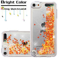 For Ipod Touch 5th & 6th Generation Orange Gold Glitter Liquid Waterfall Case