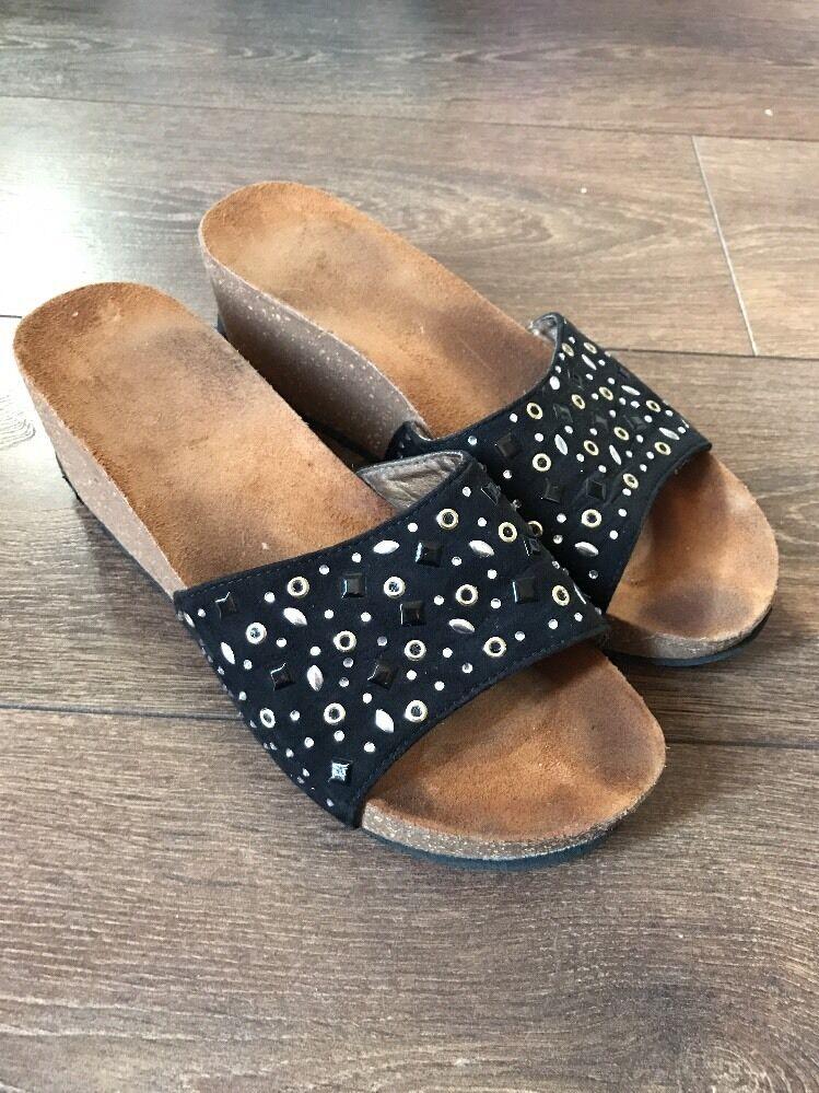 Moda jest prosta i niedroga Women's Size 7 Wedges Black With Diamond Detail