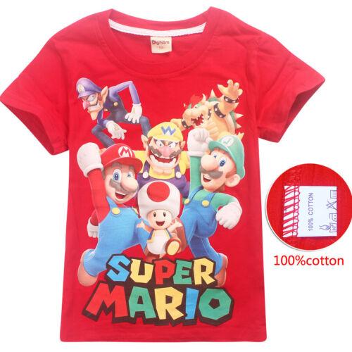 Super Mario Luigi cartoon Kids T-shirts Tops Costume tshirts Fancy dress party