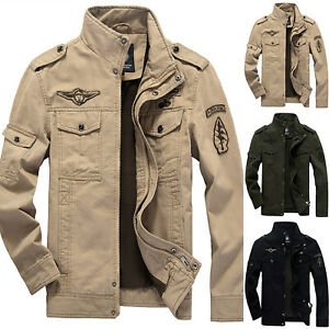Men Winter Collar Zip Cargo Military Coat Tops Outwear Casual Biker Work Jacket