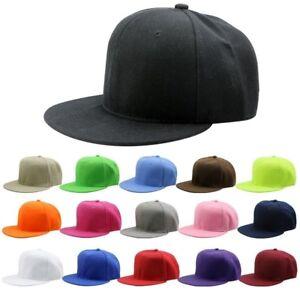 Men-Women-Solid-Color-Baseball-Cap-Snapback-Hat-Hip-Hop-Adjustable-B-boy-Caps-BS