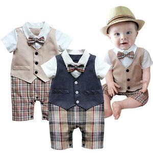 Baby Junge Body Taufe Strampler Spiel Anzug Kostum Geburtstag Outfit