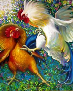 FIGHTING-ROOSTERS-24X20-034-Realistic-Art-Birds-Original-Oil-Painting-New-Bykova