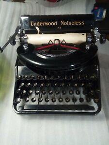Stunning Antique Vintage Underwood Noiseless Model 77 Typewriter With case