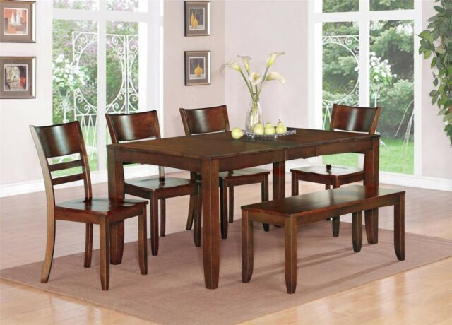 Strange 6 Pc Set Dinette Kitchen Dining Table W 4 Wood Seat Chairs A Bench Espresso Theyellowbook Wood Chair Design Ideas Theyellowbookinfo