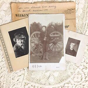 Antique Photos Spanish American War Soldier in Uniform Gun ID Wm Billie Franklin