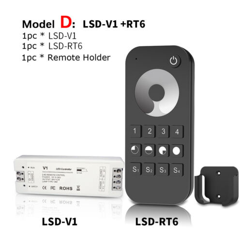Wireless V1 LED Dimmer Switch+1 Zone//4 Zone RF Remote for Single Color LED Strip