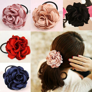 Details about Women s Elastic Hair Band Rope Rose Flower Ponytail Holder  Scrunchie Accessories 541ee190e72