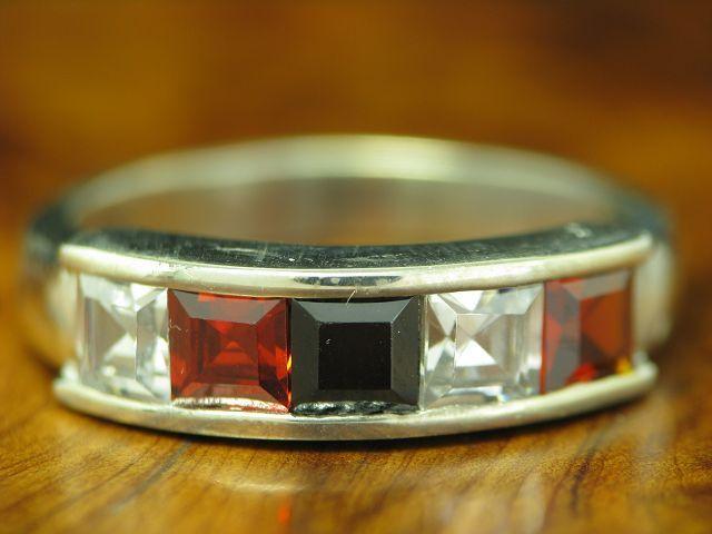 925 Sterling silver Ring mit Onyx, Turmalin & Zirkonia Besatz   RG 54   4,0g