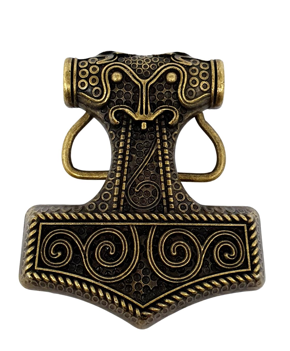 Hebilla de cinturón martillo de Thor Vikingo Celta Raven Skane Metal Bronceado Hebilla sólo Reino Unido